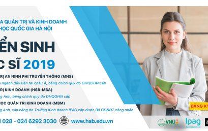 Thông báo tuyển sinh các chương trình Thạc sĩ – đợt 2 năm 2019