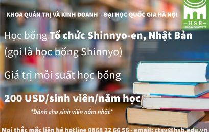 HỌC BỔNG SHINNYO NHẬT BẢN tới tất cả các bạn sinh viên năm nhất trị giá 200 USD